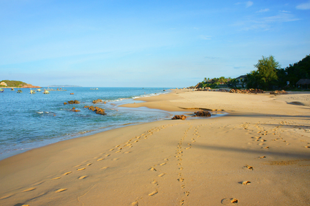 footstep: Beautiful Vietnam beach, fresh air, footstep of sand, blue sky, Viet Nam have many seashore with nice landscape, beauty view for Asia travel