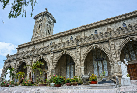 NHA TRANG, VIET NAM- AUG 25: Amazing stone church on day, ancient cathedral with impression detail, wonderful architecture, famous religious place, Nhatrang, Vietnam, Aug 25, 2015