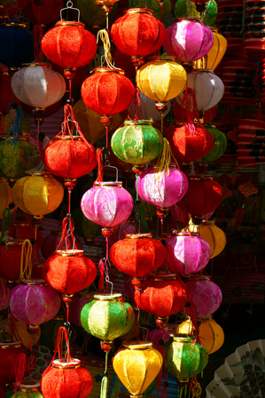 Group of colorful lantern at lantern street, Ho Chi Minh city, Vietnam, a marketplace on mid-autumn festival, lanterns is traditional toy when autumn coming