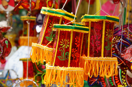 colorful lantern: Group of colorful lantern at lantern street, Ho Chi Minh city, Vietnam, a marketplace on mid-autumn festival, lanterns is traditional toy when autumn coming