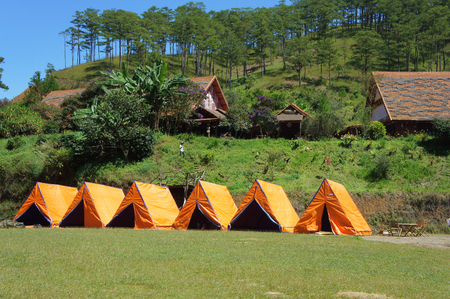 dalat: DA LAT, VIET NAM- NOV 9: Cu Lan village at Dalat countryside, hotel and holiday resort among pine jungle, camp on grass field, an eco tourism in nature reserse, Dalat, Vietnam, Nov 9, 2015