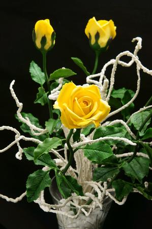 Amazing handmade product on black background clay flower as stock amazing handmade product on black background clay flower as pink lotus flower orange orchid mightylinksfo