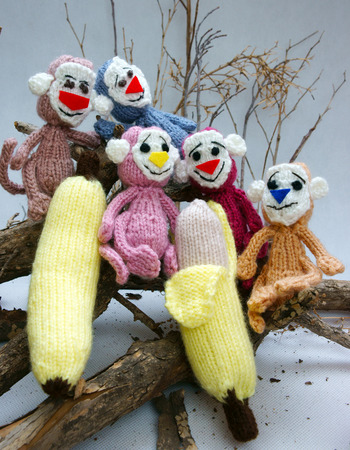 monkey on a tree: 2016, year of monkey, symbol of intelligent, lucky, agile, group of handmade monkey on branch of tree with banana, knitted toy as stuffed animal make from yarn,  hand made product on white background