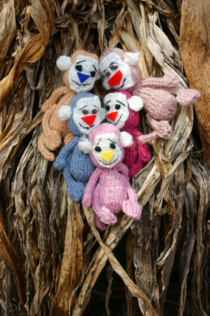stuffed animal: 2016, year of monkey, symbol of intelligent, lucky, agile, group of handmade monkey at oudoor, knitted toy as stuffed animal make from yarn,  hand made product on dark background