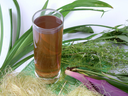 vietnamse: Vietnam drink from herb, a healthy beverage in summer day, make fresh for boby, Vietnamese is sam, cook from plant leaf