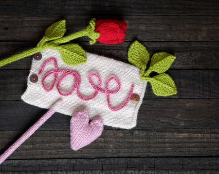 make a gift: Amazing valentine background in pink colour, symbol of heart, i love you message, rose flower, all gift make handmade, knit from yarn, Valentines day on feb 14 is romantic day for love Stock Photo