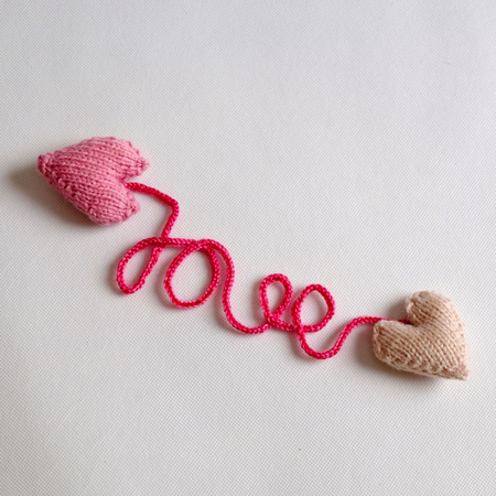 all love: Amazing valentine background in pink colour, symbol of heart, i love you message, rose flower, all gift make handmade, knit from yarn, Valentines day on feb 14 is romantic day for love Stock Photo