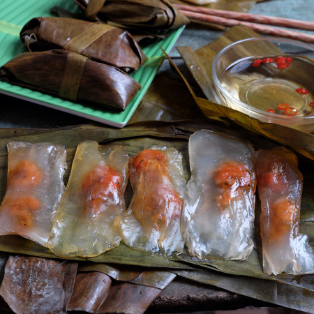 bot: Vietnamese food, a special street food from Hue cuisine, make from rice flour with meat, shrimp, pack with banana leaf, call banh nam, banh bot loc, a famous Vietnam food