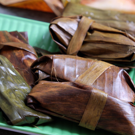 vietnamese food: Vietnamese food, a special street food from Hue cuisine, make from rice flour with meat, shrimp, pack with banana leaf, call banh nam, banh bot loc, a famous Vietnam food