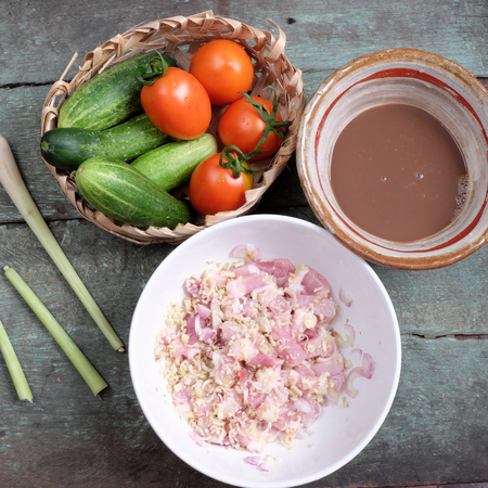 vietnamese food: Vietnamese food, shrimp paste cook with pork, a daily meal of Vietnam food, cheap and nutrition eating, can use with tomato, cucumber Stock Photo