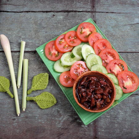 mam: Vietnamese food, shrimp paste cook with pork, a daily meal of Vietnam food, cheap and nutrition eating, can use with tomato, cucumber Stock Photo