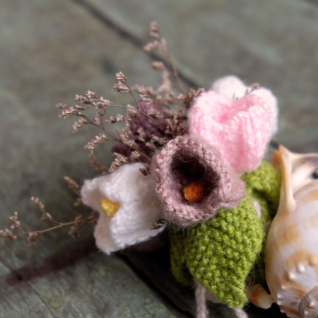 meaningful: Love background, handmade flower make from yarn, knitted love, meaningful for valentines day or mother day, amazing diy for holiday