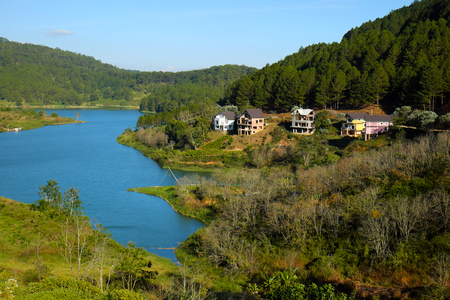 enviroment: Amazing scene at Tuyen Lam lake, Dalat, Vietnam, resort project in pine forest, beautiful lake, villas at Da Lat countryside, wonderful eco tourism with pure enviroment, luxurious mansion for travel