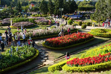 DA LAT, VIET NAM- JAN 1: Crowded scene at Dalat flower park at flower festival in spring, group of traveler visit nature garden on holiday, pure atmosphere make tourist enjoy,  Vietnam, Jan 1, 2016