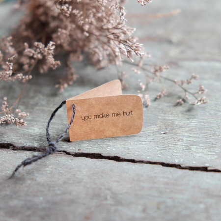 broken home: Sad background in love, with message on paper as: you make me hurt, a lonesome and despair concept Stock Photo