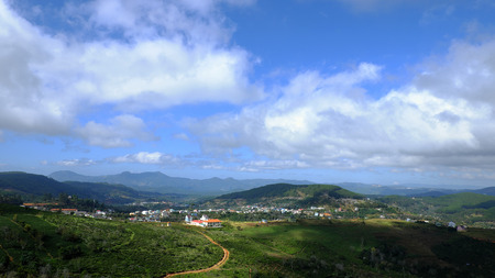 dalat: Beautiful panorama of Dalat countryside, Viet Nam, a agriculture residence with undulating terrain among hill and mountain make amazing scene of Da Lat rural, a place for Vietnam travel Stock Photo