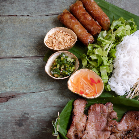fatty food: Vietnamese food, spring roll or cha gio, roast meat , a delicious fried food, eat with bun, salad and fish sauce, this also rich calories, cholesterol, fatty food, popular Vietnam eating