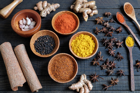 spice: Colorful spice for food, with natural color and make aromatic flavor, cashew, chilli, pepper, turmeric powder, star anise, cinnamon in ingredient spice for healthy food and are agriculture product