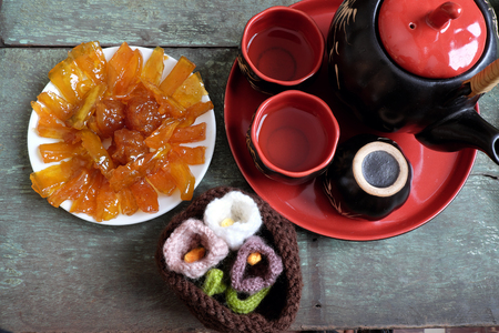 vietnam culture: Vietnamese food for Tet holiday in spring, mango jam, sweet eating is traditional food on lunar new year, can make from mango fruit cook with sugar,  amazing background for Vietnam culture