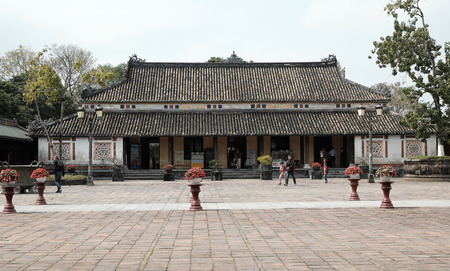 inner city: HUE, VIET NAM- FEB 19, 2016: Citadel, an culture heritage with Hoang Thanh (Imperial City),Tu Cam Thanh (Forbidden City), Dai Noi (Inner city), ngo mon (noon gate),  ancient architecture in Vietnam