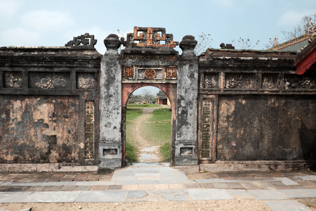ngo: HUE, VIET NAM- FEB 19, 2016: Citadel, an culture heritage with Hoang Thanh (Imperial City),Tu Cam Thanh (Forbidden City), Dai Noi (Inner city), ngo mon (noon gate),  ancient architecture in Vietnam