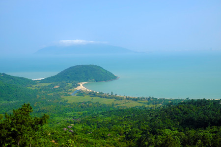 mountain pass: Beautiful landscape of Lang Co beach from Hai Van mountain pass, wonderful shape of nature with green jungle, place for eco travel at Hue, Vietnam is country of sea with long seaside