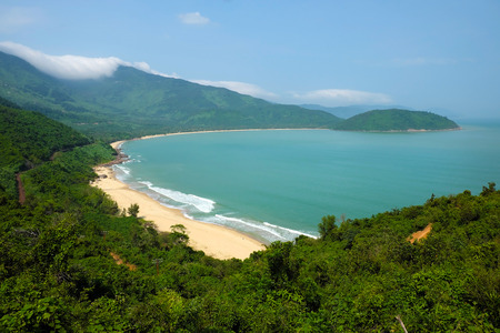 co: Beautiful landscape of Lang Co beach from Hai Van mountain pass, wonderful shape of nature with green jungle, place for eco travel at Hue, Vietnam is country of sea with long seaside