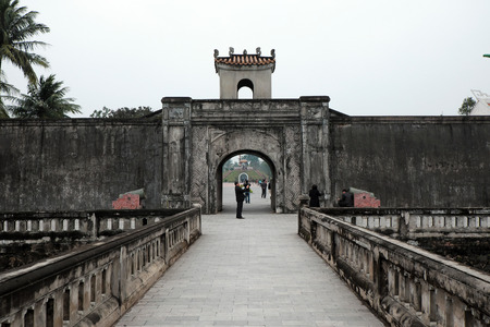 tri  color: QUANG TRI, VIET NAM- FEB 20, 2016: Quang Tri old citadel, a historic relics of Vietnam war, also national heritage, in dark color and ancient architect