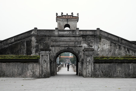 ancient relics: QUANG TRI, VIET NAM- FEB 20, 2016: Quang Tri old citadel, a historic relics of Vietnam war, also national heritage, in dark color and ancient architect