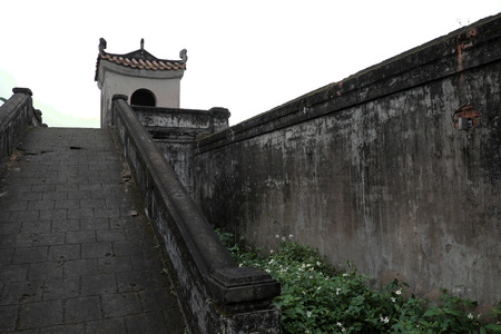 tri: QUANG TRI, VIET NAM- FEB 20, 2016: Quang Tri old citadel, a historic relics of Vietnam war, also national heritage, in dark color and ancient architect