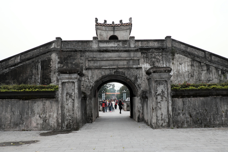 relics: QUANG TRI, VIET NAM- FEB 20, 2016: Quang Tri old citadel, a historic relics of Vietnam war, also national heritage, in dark color and ancient architect