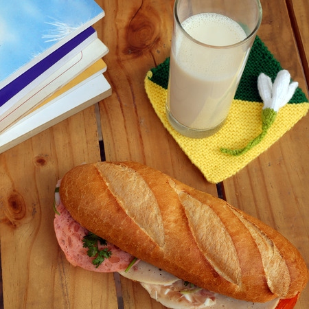the convenient: Vietnamese food, banh mi Viet Nam, a famous eating for morning with tasty and convenient for modern life, bread on table for breakfast as fast food product in Vietnam