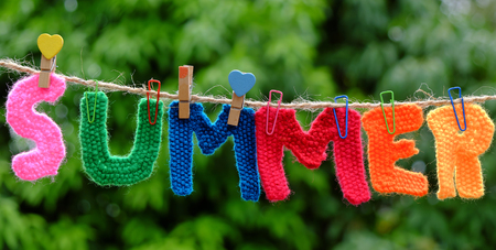 Summer letter hang on rope, summertime background with alphabet on green background
