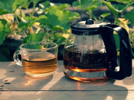 Happy lifestyle with tea pot and cup at garden, relaxation when enjoy a drink at tea time