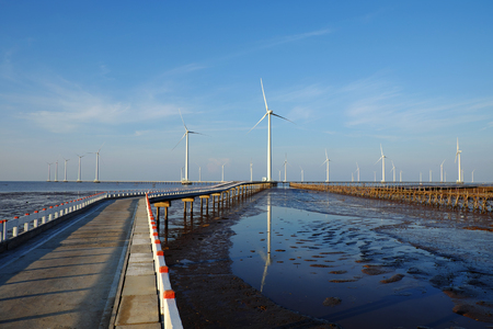 wind power plant: Group of wind turbines of Bac Lieu wind power plant at Mekong Delta, Vietnam. Windmill at Baclieu seaside at morning, make clean energy for Viet nam industry