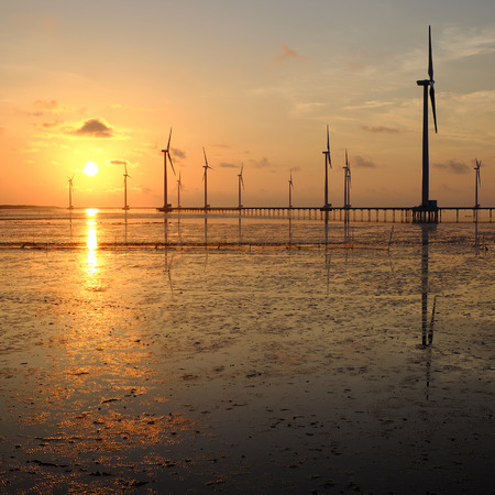 wind power plant: Group of wind turbines of Bac Lieu wind power plant at Mekong Delta, Vietnam. Windmill at Baclieu seaside at sunrise, make clean energy for Viet nam industry