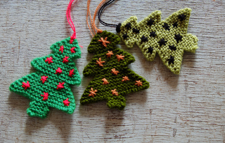Knitted Xmas Tree On Wooden Background Christmas Trees Knit Stock