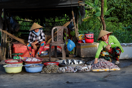 fish vendor: CA MAU, VIET NAM- JULY 15, 2016: Roadside food stalls, outdoor fish market at Mekong Delta countryside, vendor sell seafood as fish, oyster, shrimp, Camau, Vietnam Editorial