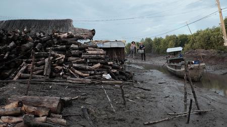 CA MAU, VIET NAM- JULY 16, 2016: Vietnamese worker transport charcoal, product from mangrove firewood at fuel kiln, Camau, Vietnam
