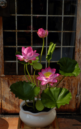 lotus flowers: Artificial flower, handmade lotus flower with green leaf and pink petal make from clay, diy art product for home decoration