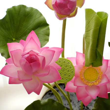 Artificial flower, handmade clay lotus flower with green leaf and pink petal, diy art product for home decoration, close up artwork on white background