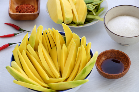 Vietnamese fruit, green mango cut in slice, a popular tropical fruit, rich vitamin A, vitamin C, collagen, good for health and impulse calcium absorption Stock Photo