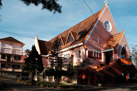 DALAT, VIET NAM- DEC 27, 2016: Ancient French architecture at Da Lat for Vietnam tourism, Domaine de maria church on day, a famous place for travel with old building, Vietnam Editorial