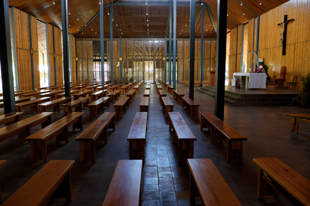 DUC TRONG, VIET NAM- DEC 28, 2016: Amazing  architecture of inside Ka Don church at Lac Duong, Dalat countryside, Kadon chapel design from wooden and use natural light make environment friendly place