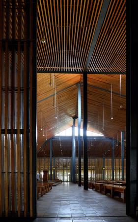 dalat: DUC TRONG, VIET NAM- DEC 28, 2016: Amazing  architecture of inside Ka Don church at Lac Duong, Dalat countryside, Kadon chapel design from wooden and use natural light make environment friendly place