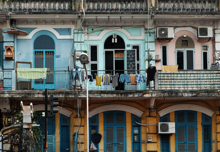 HO CHI MINH CITY, VIET NAM- APRIL 18, 2017: Close up of front of building at Cho Lon, amazing ancient architecture of old house at China town, Vietnam