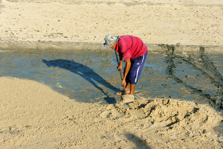 BINH THUAN, VIET NAM- OCT 25, 2014: One Asian farmer crouching and work hard with shovel on sand soil of agriculture field, Vietnamese man with tanned skin by bask Editorial