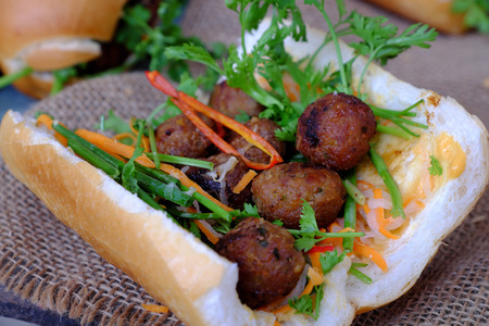 Vietnamese street food, banh mi thit nuong or Vietnam bread from grilled meat, this is popular eating and special culture in Viet Nam cuisine