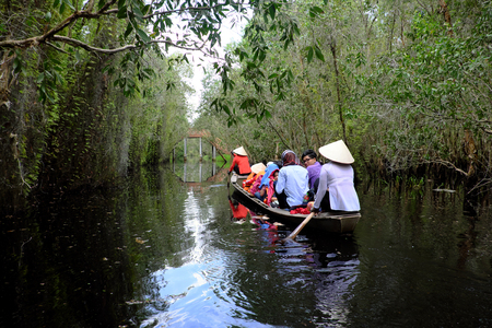LONG AN, VIET NAM- SEPT 2, 2017: Traveler in eco tourism at Tan Lap tourist area,  row boat move on river, through melaleuca forest, beautiful travel destination for Vietnam travel at Mekong Delta