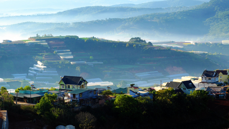 Da lat countryside in early morning, mist on residence, mountain chain with pine forest in foggy, house on slope and many agriculture field, wonderful landscape and romantic scenery